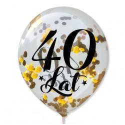 """Balon przeźroczysty """"40 Lat"""" + konfetti złote metaliczne 100 szt."""