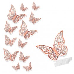 Motylki 3D /12 szt. rose gold/ różowe złoto/ /metaliczne