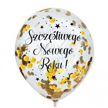 """Balon przeźroczysty """"Szczęśliwego Nowego Roku"""" + konfetti złote metaliczne 100 szt."""