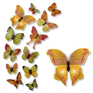 Motylki 3D PCV /12 szt. jesienne