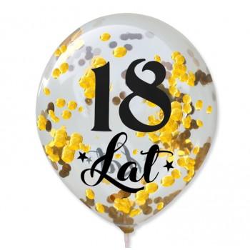"""Balon przeźroczysty """"18 Lat"""" + konfetti złote metaliczne 100 szt."""