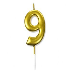 """Świeczka urodzinowa """"9"""" złota / glamour"""