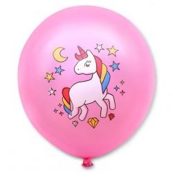 Balon dekoracyjny, różowy / magiczny jednorożec 100 szt.