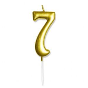 """Świeczka urodzinowa """"7"""" złota / glamour"""