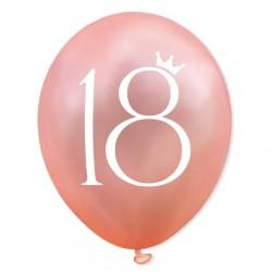 Balon 18 urodziny / ROSE GOLD różowe złoto + nadruk