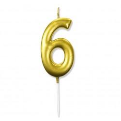 """Świeczka urodzinowa """"6"""" złota / glamour"""