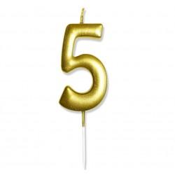 """Świeczka urodzinowa """"5"""" złota / glamour"""