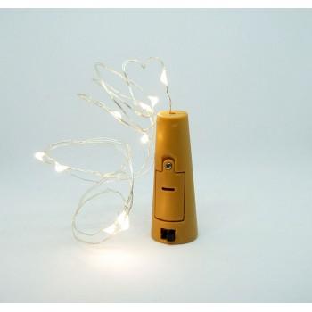 Korek do wina + sznur LED / kolor biały, ciepły + baterie