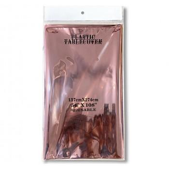 Obrus foliowy metaliczny/lustrzany 274x137cm rose gold/różowe złoto