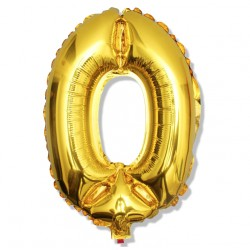 """Balon cyfra złota """"0"""" 40 cm"""