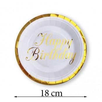 Talerzyk/talerzyki złoty naduk / Happy Birthday 18 cm / 10 szt.