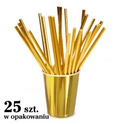 Słomki papierowe jednorazowe, metaliczne, GOLD, złote 25 szt.
