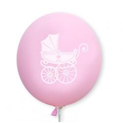 Balon różowy / biały wózeczek