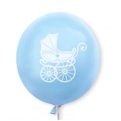 Balon niebieski / biały wózeczek