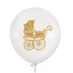 Balon biały / złoty wózeczek