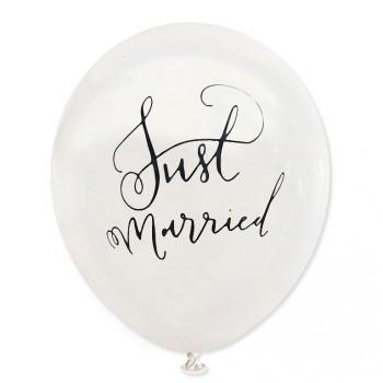 Balon Just Married / biały, złoty nadruk / mocny/ 100 szt.