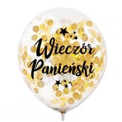 """Balon przeźroczysty """"Wieczó Panieński"""" + konfetti gold/złote metaliczne 100 szt."""