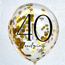 """Balon urodzinowy przeźroczysty / """"40""""  z konfetti"""