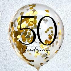 """Balon urodzinowy przeźroczysty / """"50""""  z konfetti"""