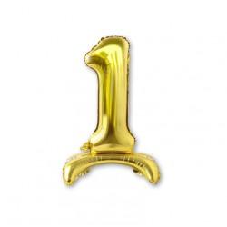 """Balon cyfra złota /stojąca """"1"""" 40 cm"""
