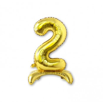 """Balon cyfra złota /stojąca """"2"""" 40 cm"""