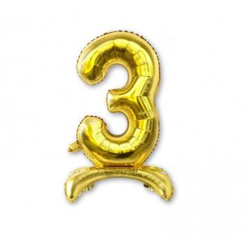 """Balon cyfra złota /stojąca """"3"""" 40 cm"""