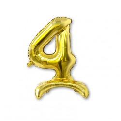 """Balon cyfra złota /stojąca """"4"""" 40 cm"""