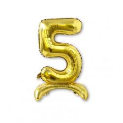 """Balon cyfra złota /stojąca """"5"""" 40 cm"""