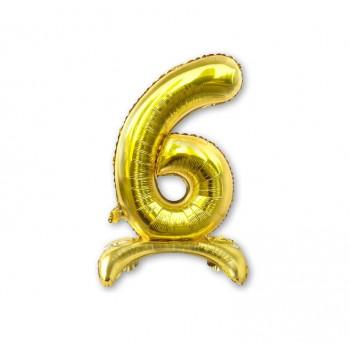 """Balon cyfra złota /stojąca """"6"""" 40 cm"""