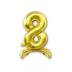 """Balon cyfra złota /stojąca """"8"""" 40 cm"""