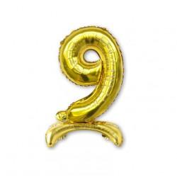 """Balon cyfra złota /stojąca """"9"""" 40 cm"""