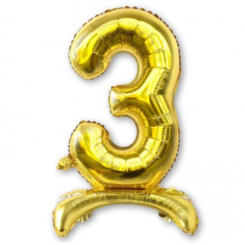"""Balon cyfra złota /stojąca """"3"""" 75 cm"""