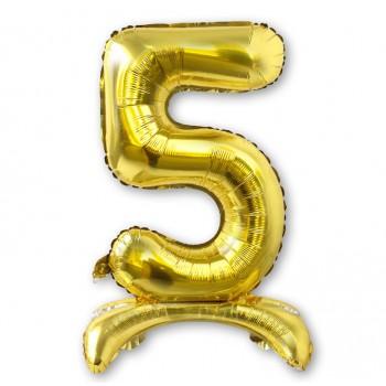 """Balon cyfra złota /stojąca """"5"""" 75 cm"""