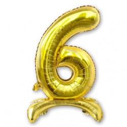 """Balon cyfra złota /stojąca """"6"""" 75 cm"""
