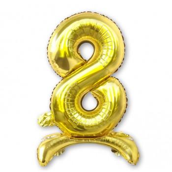 """Balon cyfra złota /stojąca """"8"""" 75 cm"""