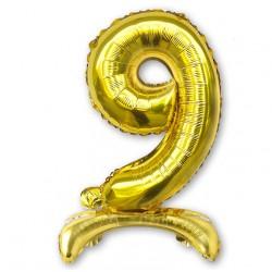 """Balon cyfra złota /stojąca """"9"""" 75 cm"""